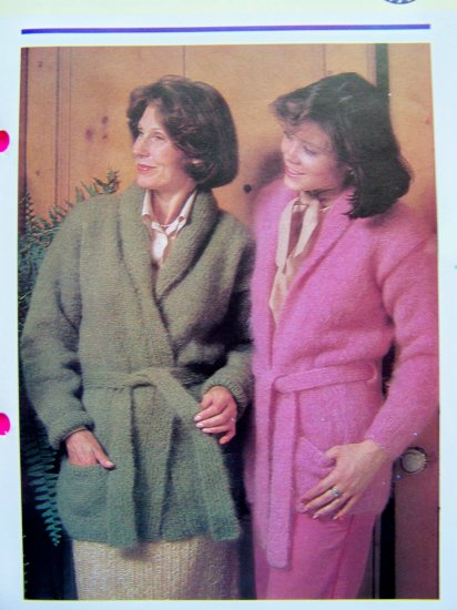 1 Cent USA S&H Belted Mohair Yarn Wrap Jackets Vintage Knitting Pattern Misses and Plus Size