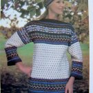 Fairisle Sweater & Cap Scandinavian Vintage Knitting Pattern Womens Bust 34 36 38