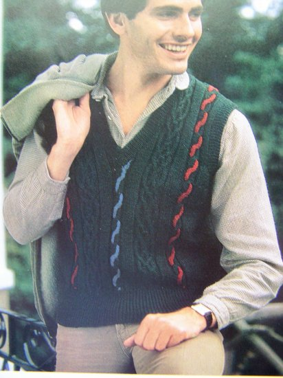 Men's Cable Vest Knit Sweater Pullover Vintage Knitting Pattern Chest 34 36 38 40