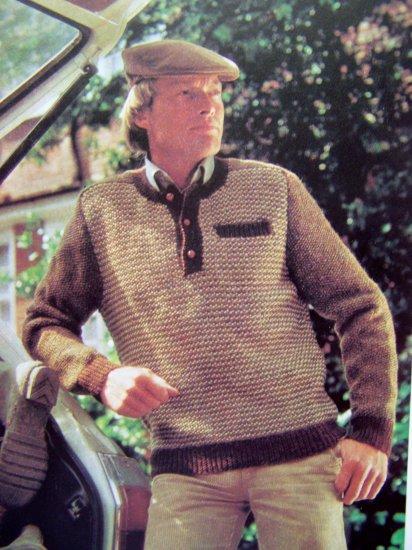 Men's Tweed Look Sweater Vintage Knitting Pattern Chest 38 40 42 44