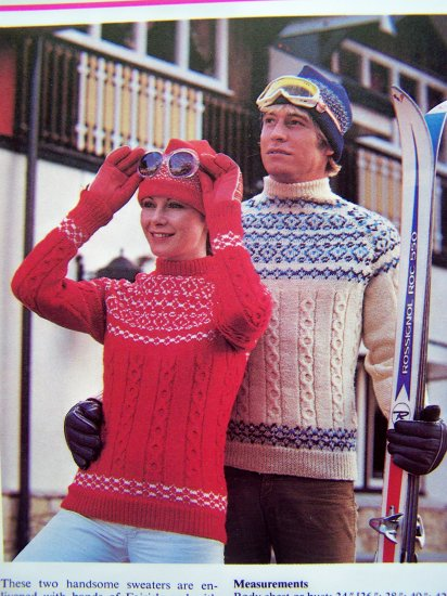 His Hers Fair Isle Sweaters Cable Vintage Knitting Pattern Mens Womens Fairisle 34 36 38 40 42
