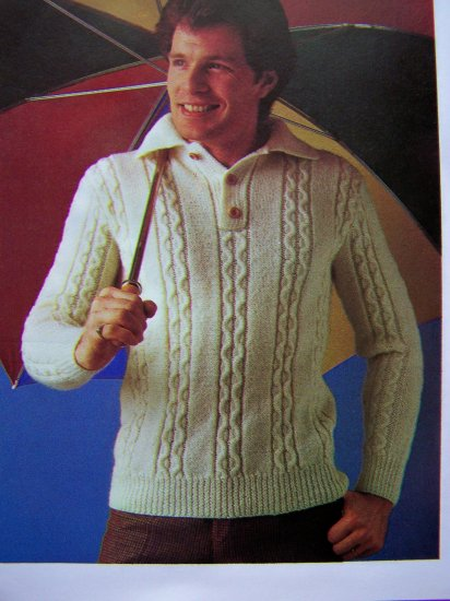 USA 1 Cent S&H Men's Shirt Style Cable Knit Sweater Vintage Knitting Pattern Chest 38 40 42