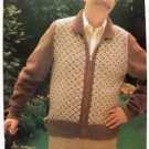 Mens Diamond Check Jacket Zip Up Front Sweater Vintage Knitting Pattern Body Chest Size 38 40 42