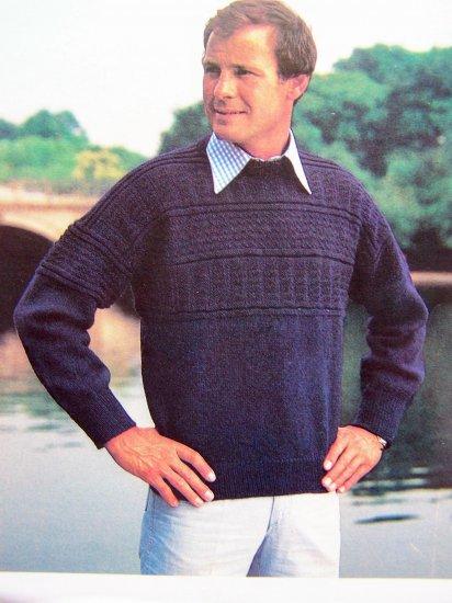 Men's Fisherman's Sweater Vintage Knitting Pattern Chest 38 40 42 44