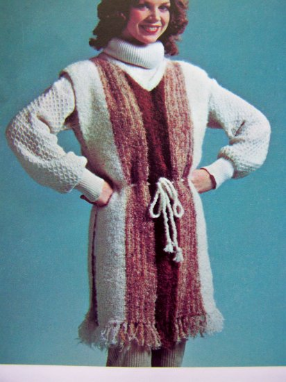 USA 1 Cent S&H Misses Fringed Tabard Sweater Womens Vintage Knitting Pattern Bust 34 36