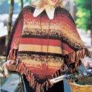 Warm Bulky Poncho Fringed Vintage Knitting Pattern Crochet Fringe