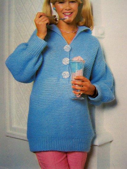 USA 1 Cent Shipping Vintage 80's Long Sweater Mini Dress Easy Fit Garter Stitch Knitting Pattern
