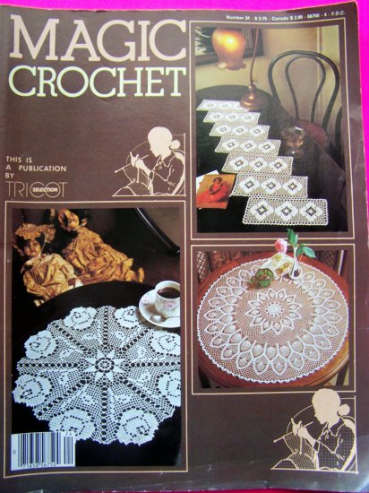 Magic Crochet Thread Pattern Back Issue Magazine # 24 1983 Doily Bedspread Table Runner Tablecloth