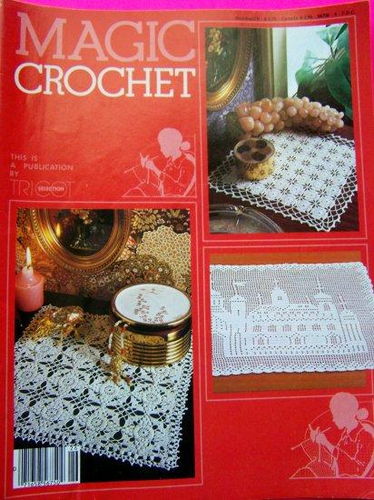 1980's Vintage Magic Crochet Pattern Magazine 26 Filet Lace Trim Heirloom Bedspread Pillow Top