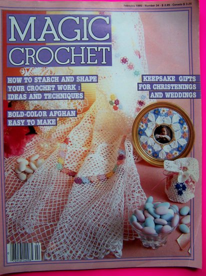 Magic Crochet Pattern Magazine 34 Swan Rose Doily Filet Runner Christening Gown Misses CLothing