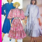 80's Vintage Sewing Pattern Tiered Flared Dress Puff Sleeves Shirt Waist Boho Gypsy 3111