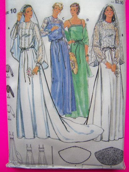 70's Vintage Sewing Pattern Bridal Wedding Dress Gown Veil Bridesmaid SunDress 6514