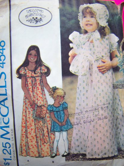 Laura Ashley Vintage Sewing Pattern Girls Dress Sz 4 Empire Waist Bonnet Purse 4548