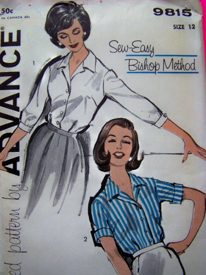 Uncut 1950's Vintage Sewing Pattern Blouse Short Rolled Or 3/4 Cuff SLeeve Shirt  9815