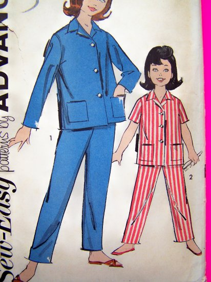 50's Vintage Sewing Pattern Girls Pajama Shirt Pjs Sleep Pants Advance 2706