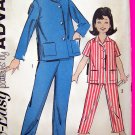 50's Vintage Sewing Pattern Girls Pajama Shirt Pjs Sleep Pants Advance 2706