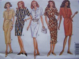 Misses Blouson Dress Tapered Skirt Overlay Wrap 6 8 10 Easy Sewing Pattern 6787