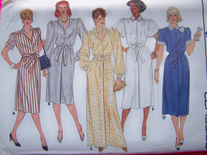 Vintage Sewing Pattern Dress Straight Skirt 8 10 12 Angel Flutter Short Long Sleeves Tie Waist 6624