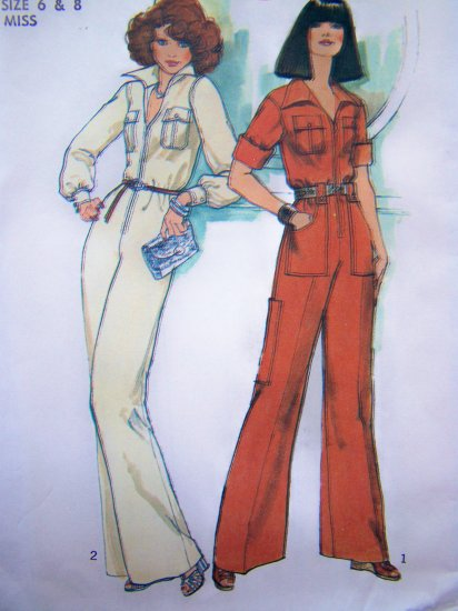 1970's Vintage Sewing Pattern Hippie Jumpsuit Safari Zip Up Disco Coverall 7310