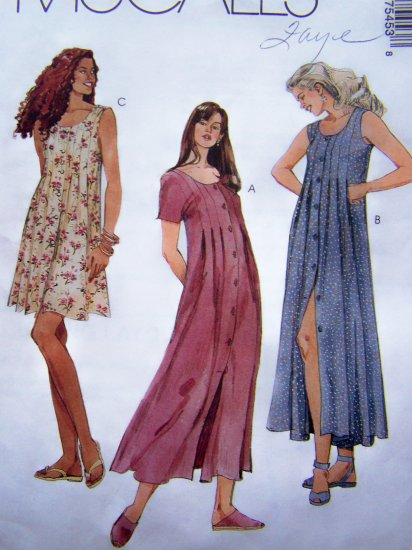 1990's Sewing Pattern Dress Bodice Pleat Button Up Flare Sundress Misses 10 McCall's 7545