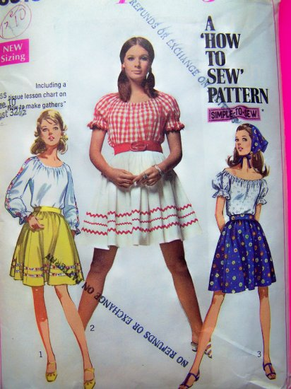 60's Peasant Shirt Puff Short Long Sleeve Blouse Mini Skirt Boho Top Vintage Sewing Pattern 8015