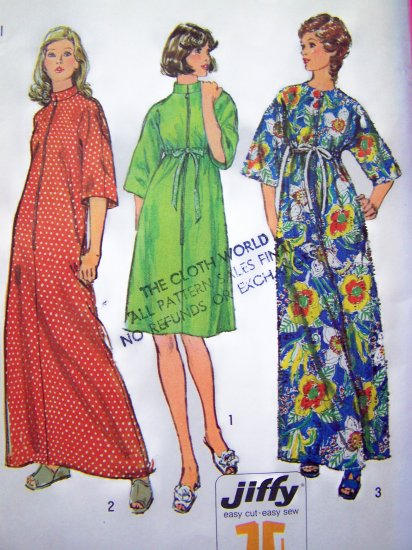 Misses Robe Caftan Lounge Gown Patio Dress Small 1970's Vintage Sewing Pattern S6048