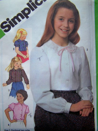 Girls Button Up Blouse Puff Short or Long Sleeve Shirt Collar Variations Vintage Sewing Pattern 5209