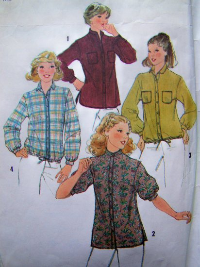 Misses Button Up Shirt Tail Tunic Drawstring Hem  Sz 12 Vintage Sewing Pattern 8620