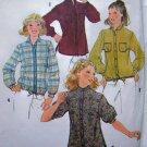 Misses Button Up Shirt Tail Tunic Drawstring Hem  Sz 12 Vintage Sewing Pattern 8620