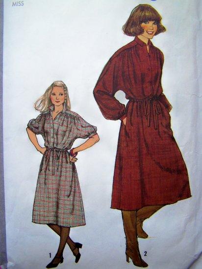 Vintage Sewing Pattern Pullover Dress Kimono Sleeves B 32.5 Drawstring Waist Casing 8675