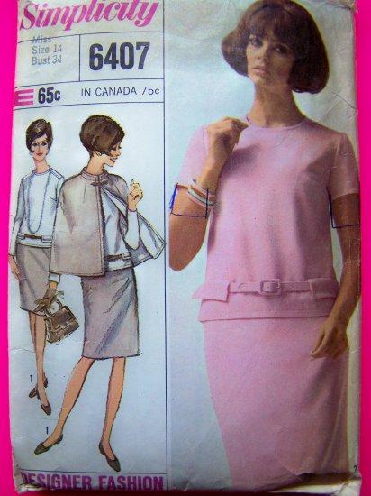 60's Mod A Line Dress Reversible Cap Mandarin Collar Sz 14 Vintage Sewing Pattern 6407