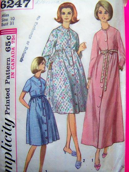 Misses Robe Patio Dress Lounge Wear Sz 10 Vintage Sewing Pattern Simplicity 6247