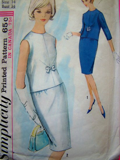 60's Mod 2 Piece Dress Fitted Wiggle Skirt Jackie O Bust 34 Sz 14 Vintage Sewing Pattern 5234