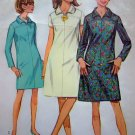 1960's A Line Dress Bias Collar Short & Long Sleeves Sz 14 B 34 Vintage Sewing Pattern 7289