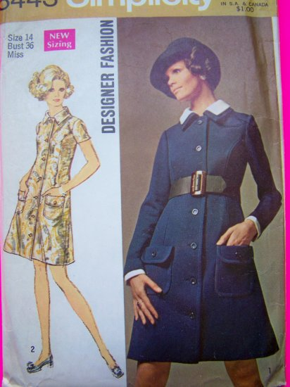 1960's Mod Coat Dress Detachable Collar and Sleeve Trim  Sz 14 Vintage Sewing Pattern 8443