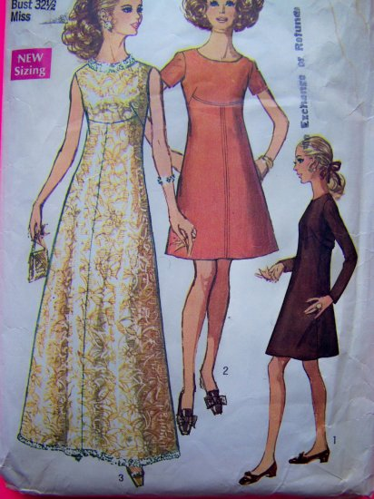 60's Cocktail Maxi Dress Empire Day Evening Gown Sz 10 B 32.5 Mod Vintage Sewing Pattern 8498