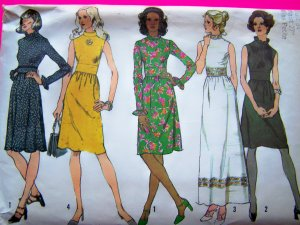 1970's Dress Ruffled High Neck & Sleeve Regular & Maxi Gown 12 Petite Vintage Sewing Pattern 5095