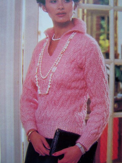 1 Cent USA Shipping Geometric Stitch Jersey Sweater Vintage Knitting Pattern