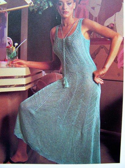 USA 1 Cent S&H Opulent Evening Dress Beach Maxi Knitted Sundress Gown Vintage Knitting Pattern