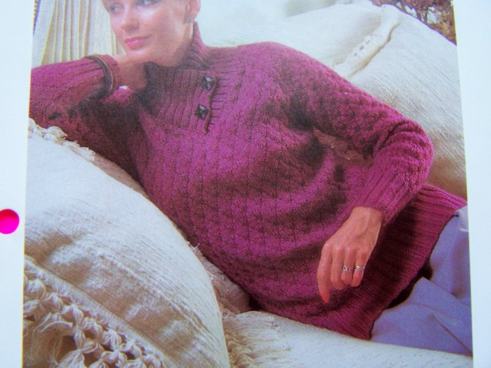 Diamond Patterned Sweater High Collar 2 Button Yoke Bust 34 36 38 Vintage Knitting Pattern