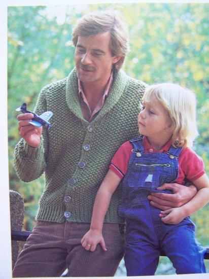 Men's Shawl Collar Cardigan Sweater 1980's Seed Stitch Vintage Knitting Pattern