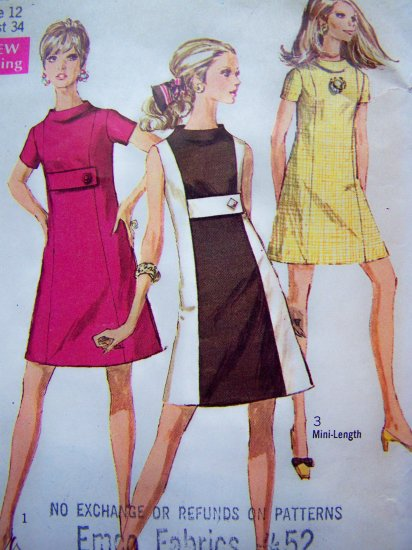 60's Mod A Line Dress Mini & Reg Length Empire Button Tab Bodice B 34 Vintage Sewing Pattern 7675