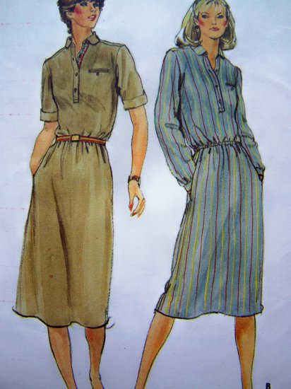 1970's Dress Elastic Waist Short or Long Sleeve Rolled Cuffs Vintage Sewing Pattern 3651