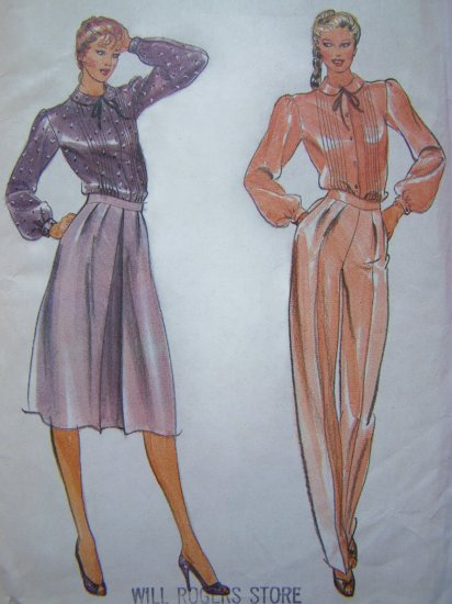 70's Vintage Sewing Pattern High Waist Pants Skirt Blouse Long Full Sleeves Tuck Bodice Shirt 3555