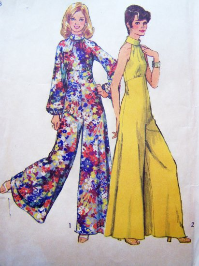 Vintage Sewing Pattern Hippie Palazzo Jumpsuit Hostess Empire Big Bell Bottom Pantsuit 5570