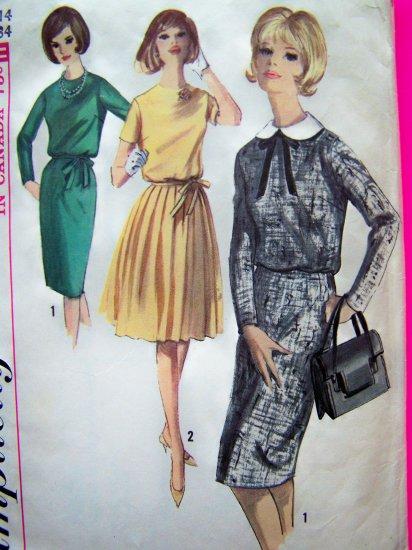60's Mod Dress Slim Wiggle or Full Pleat Skirt Sz 14 Vintage Sewing Pattern 5613