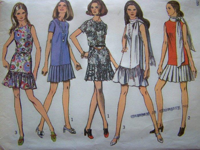 70's Mini Dress Drop Waist Pleat or Ruffle Skirt Sz 12 B 34 Vintage Sewing Pattern 8684