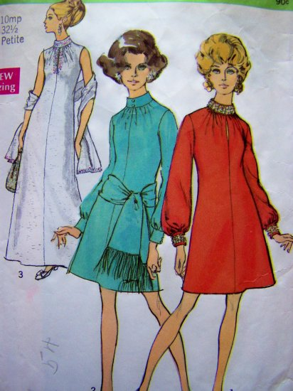 60's Evening Long Gown A Line Mini Dress Stole Wrap  10 Miss Petite Vintage Sewing Pattern 8540