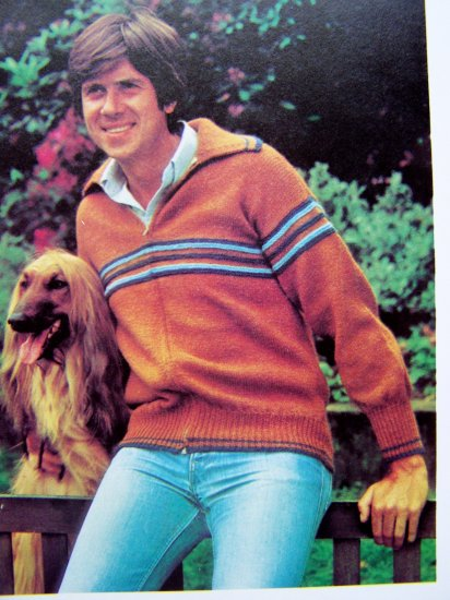 Mens Knitted Sweater Jacket With Contrast Bands Chest 36 38 40 42 Vintage Knitting Pattern
