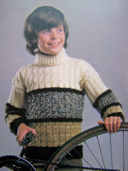 Boys Vintage Knitting Pattern Turtleneck Cable Knit Sweater XS S M L XL